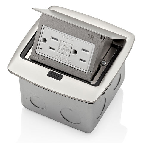 Pop-Up Floor Box with 15 Amp, Tamper-Resistant Self-Test GFCI Outlet, PFGF1-BN