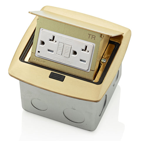 Pop-Up Floor Box with 20 Amp, Tamper-Resistant Self-Test GFCI Outlet, PFGF2-BR