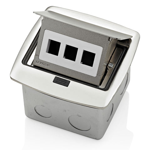 Pop-Up Floor Box with 3-Port QuickPort Insert, PFQP3-BN