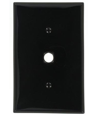 1-Gang .406 Inch Hole Device Telephone/Cable Wall Plate, Midway Size, Thermoplastic Nylon, Strap Mount, Ebony, PJ11-E - Leviton