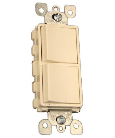 2 15-Amp Single Pole Decora Switches, Light Almond, 5634-TS - Leviton