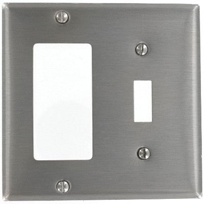 2-Gang 1-Toggle, Decora/GFCI Device Combination Wall Plate, Device Mount, Stainless Steel, S126 - Leviton