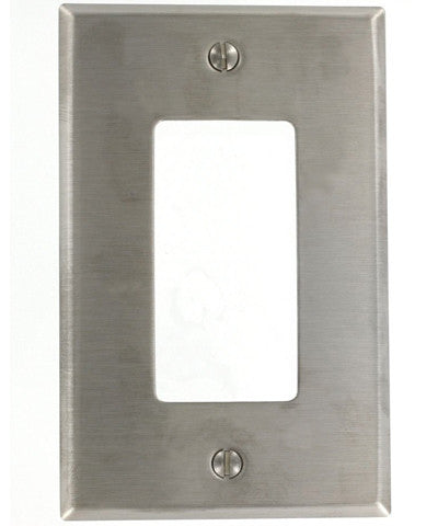 1-Gang Decora/GFCI Device Decora Wall Plate, Midway Size, Device Mount, Stainless Steel, SSJ26-40 - Leviton