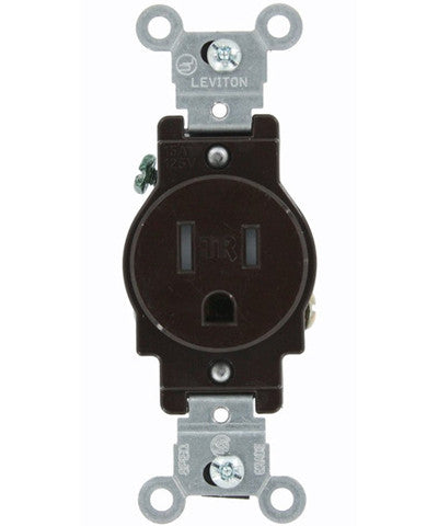 15 Amp, Narrow Body Single Receptacle, Straight Blade, Tamper Resistant, 125 Volt, Commercial Grade, Grounding, T5015 - Leviton - 1