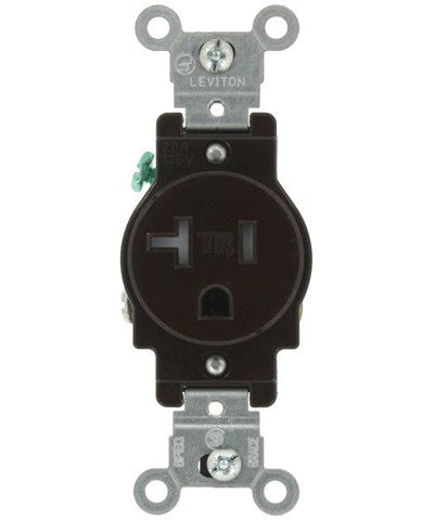 20 Amp, Narrow Body Single Receptacle, Straight Blade, Tamper Resistant, 125 Volt, Commercial Grade, Grounding, Brown/Ivory/White, T5020 - Leviton - 1