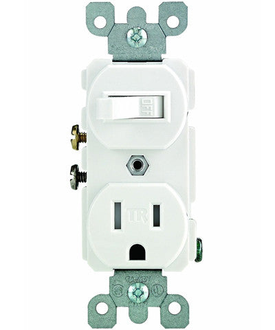 15 Amp, 120 Volt AC Toggle Switch, and 15 Amp, 125 Volt 5-15R Tamper Resistant Receptacle, Combination, Grounding, T5225-W - Leviton