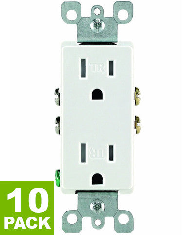 Tamper Resistant Duplex Receptacle Straight Blade, 10-Pack, T5325 - Leviton - 1