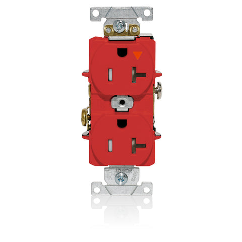 Isolated Ground Duplex Receptacle Outlet, Heavy-Duty Industrial Specification Grade, Tamper-Resistant, Smooth Face, 20 Amp, 125 Volt, Back or Side Wire, NEMA 5-20R, 2-Pole, 3-Wire, Self-Grounding - Red, T5362-IGR
