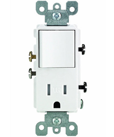 Tamper-Resistant Rocker NEMA Combination Decora Switch and Receptacle, White, T5625-W - Leviton