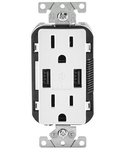 USB Charger/Tamper-Resistant Duplex Receptacle, 15-Amp, T5632 - Leviton - 1