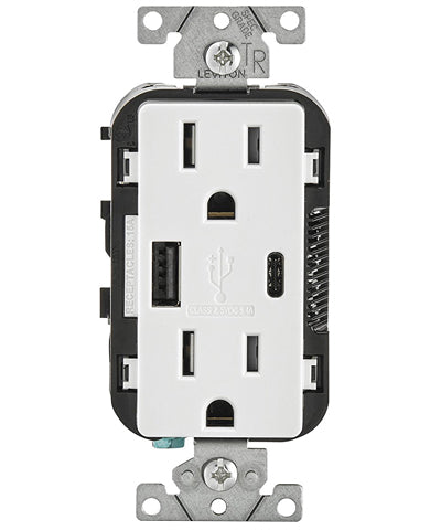 Type A & Type-C USB Charger/Tamper Resistant Receptacle, 15-Amp, T5633