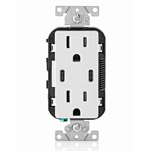30W (6A) USB Dual Type-C with Power Delivery (PD) In-Wall Charger with 15 Amp, 125 Volt Tamper-Resistant Outlet, T5635