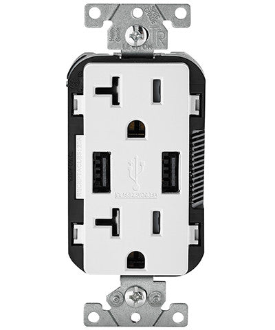 USB Charger/Tamper-Resistant Duplex Receptacle, 20-Amp, T5832 - Leviton - 1