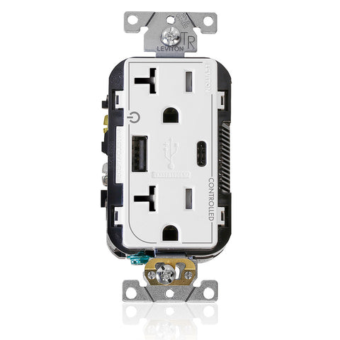 "Dual Marked ""Controlled"" Tamper-Resistant USB Receptacle, Type A/C, 20 Amp 125 Volt, White, T5833-2W"
