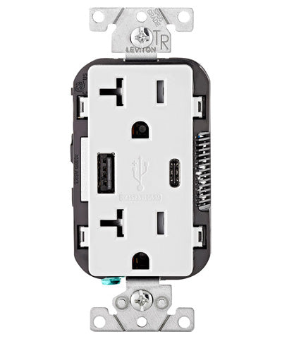 Type A & Type-C USB Charger/Tamper Resistant Receptacle, 20-Amp, White, T5833-W