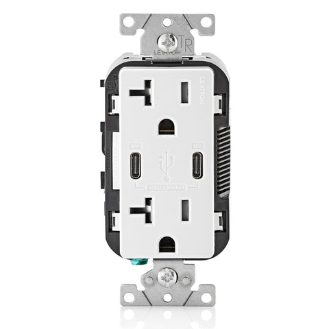 30W (6A) USB Dual Type-C/C Power Delivery Wall Outlet Charger with 20A Tamper-Resistant Outlet, T5835-W