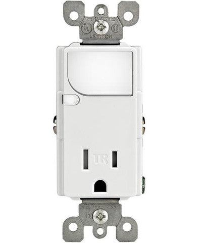 Combination Decora Tamper Resistant Receptacle with LED Guide Light, 15A-125VAC, Single Pole, Neutral Required, White, T6525-W - Leviton