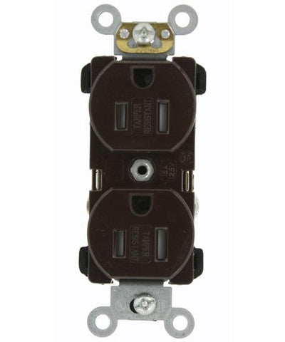 15 Amp, Narrow Body Duplex Receptacle, Straight Blade, Tamper Resistant, Commercial Grade, 125 Volt, Self Grounding, Various Colors, TBR15 - Leviton - 1
