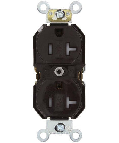 20 Amp, Duplex Receptacle, Tamper-Resistant, Straight Blade, Commercial Grade, 125 Volt, Self Grounding, Various Colors, TBR20 - Leviton - 1