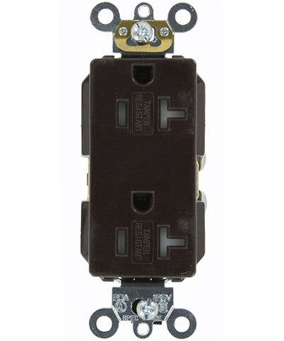 20 Amp, Decora Plus Duplex Receptacle, Tamper Resistant, Straight Blade, Commercial Grade, 125 Volt, Self Grounding, Brown/Black/Gray/Ivory/Light Almond/White, TDR20 - Leviton - 1