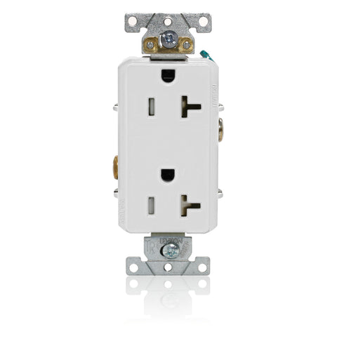 Decora Plus Duplex Receptacle Outlet, Heavy-Duty Industrial Specification Grade, Tamper-Resistant, Smooth Face, 20 Amp, 125 Volt, Back or Side Wire, NEMA 5-20R, 2-Pole, 3-Wire, Self-Grounding - White, TDR20-012-00W