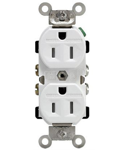 15 Amp, 125 Volt, Tamper & Weather Resistant, Duplex Receptacle, Straight Blade, Industrial Grade, Self Grounding, Back & Side Wired, White, TWR15-W - Leviton