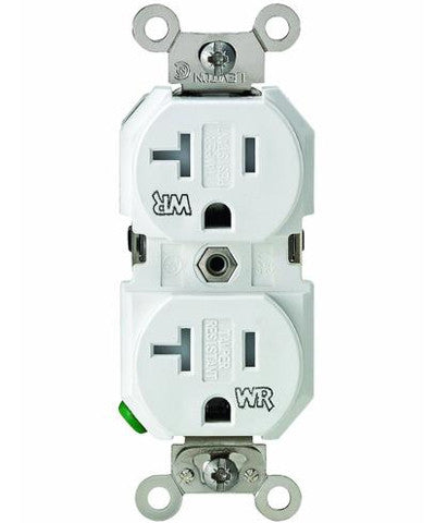 20 Amp, 125 Volt, Tamper & Weather Resistant, Duplex Receptacle, Straight Blade, Industrial Grade, Self Grounding, Back & Side Wired, White, TWR20-W - Leviton