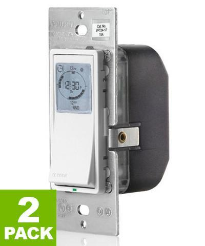 Vizia 24-Hour Programmable Indoor Timer with Astronomical Clock, 2-Pack, VPT24-1PZ - Leviton