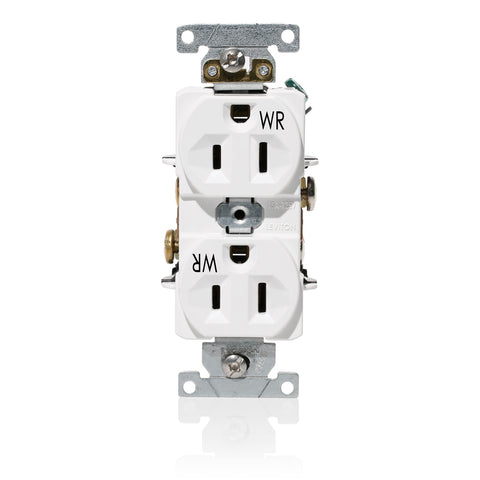 15 Amp, 125 Volt, Wide Body Duplex Receptacle, Industrial Grade, Self Grounding, Weather Resistant, White, WBR15-W - Leviton