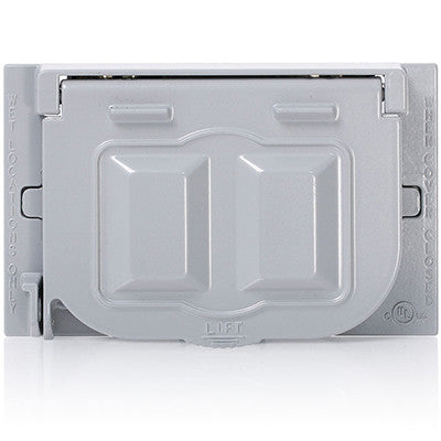 Weatherproof Cover, Metal Flat Lid, 1-Gang Decora, GFCI or Duplex Receptacle or Single Receptacle, Horizontal Mount, Gray, WM1H-GY - Leviton