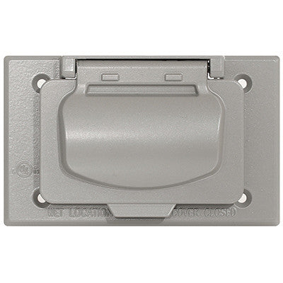 1-Gang Weatherproof Device Cover for Decora/GFCI Receptacle, Horizontal Mount, Gray, WM1HF-GY - Leviton