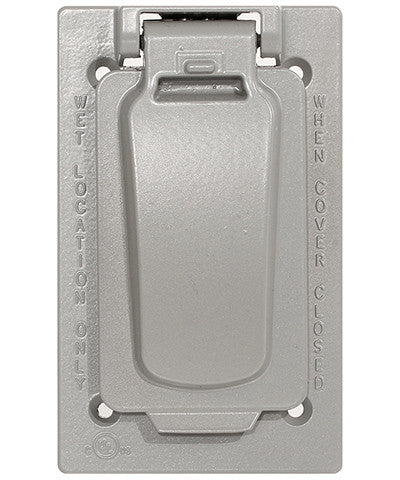 1-Gang Weatherproof Device Cover for Decora/GFCI Receptacle, Vertical Mount, Gray, WM1VF-GY - Leviton