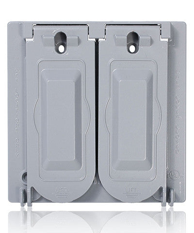 Weatherproof Cover, Metal Flat Lid, 2-Gang Decora, GFCI or Duplex Receptacle or Single Receptacle, Horizontal Mount, Gray, WM2V-GY - Leviton