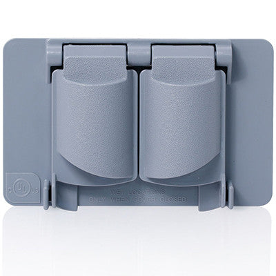 Weatherproof Cover, Plastic Flat Lid, 1-Gang Duplex Receptacle, Gray, WP1D-GY - Leviton