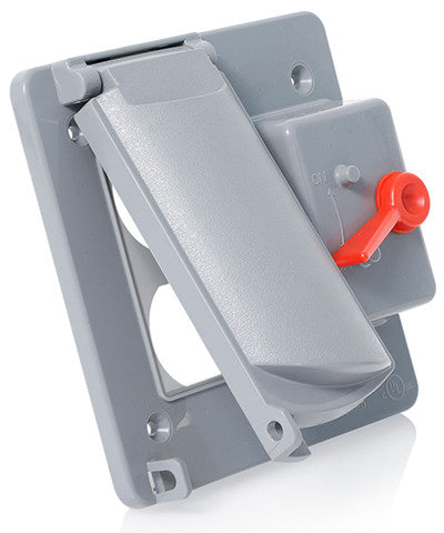 Weatherproof Cover, Plastic Flat Lid, 2-Gang Switch & Duplex Receptacle, Gray, WP2SD-GY - Leviton