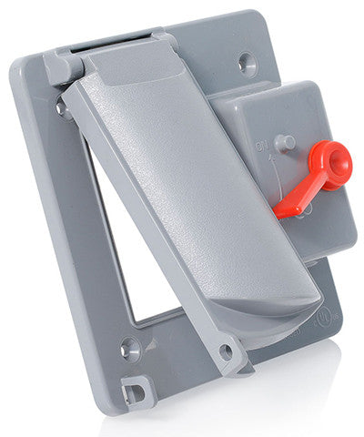 Weatherproof Cover, Plastic Flat Lid, 2-Gang Switch, Decora/GFCI, Gray, WP2SG-GY - Leviton