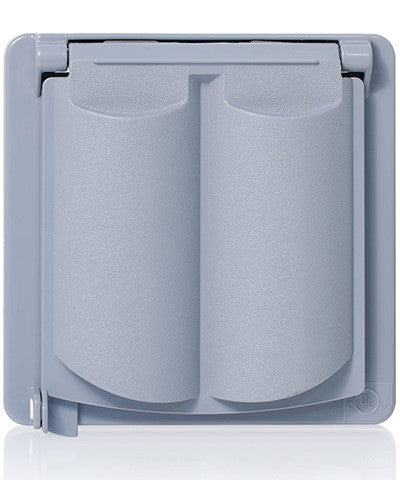 Weatherproof Cover, Plastic Flat Lid, 2-Gang Decora, GFCI or Duplex Receptacle or Single Receptacle, Horizontal Mount, Gray, WP2V-GY - Leviton