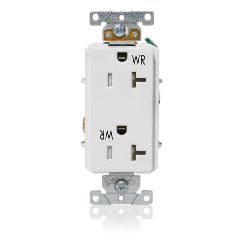 Decora Plus Duplex Receptacle Outlet, Heavy-Duty Industrial Specification Grade, Weather and Tamper-Resistant,Smooth Face, 20 Amp, 125 Volt, Back or Side Wire, NEMA 5-20R, 2-Pole, 3-Wire, Self-Grounding - White, 003-WTD20-00W