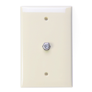 Midsize Video Wall Jack, F connector, Light Almond, 40539