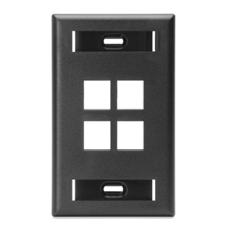 Single-Gang QuickPort Wallplate with ID Window, 4-Port, 42080