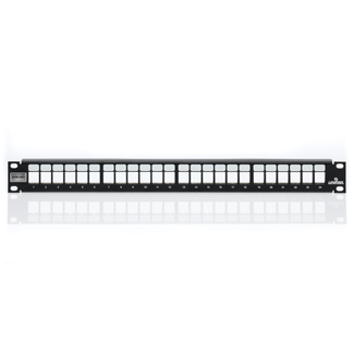 Shielded QuickPort Patch Panel, 24-port, 1RU. Cable management bar and grounding wire included, 4S255-S24