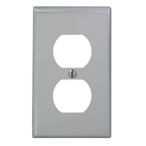 1-Gang Duplex Device Receptacle Wall Plate, Standard Size, Thermoplastic Nylon, Device Mount, 80703
