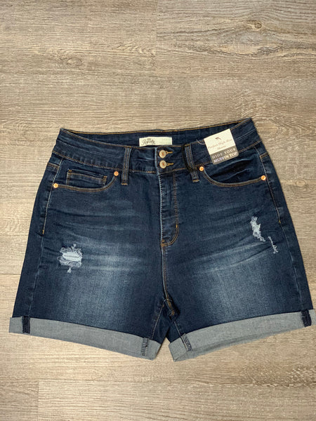 Dark Wash Distressed High Rise Shorts