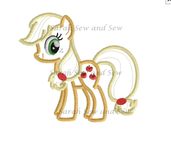 Applejack My Little Pony Embroidery Design - Sarah Sew and Sew