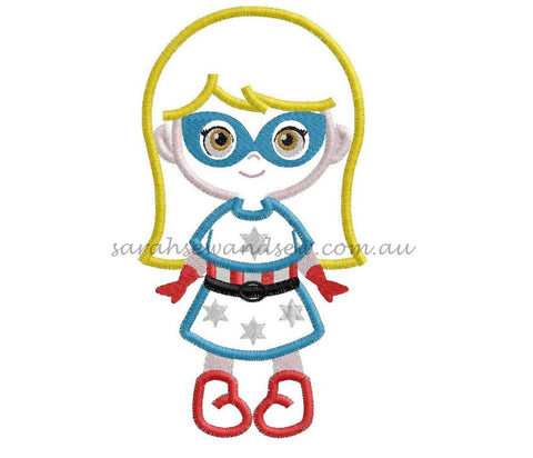 Captain America Girl Embroidery Design - Sarah Sew and Sew