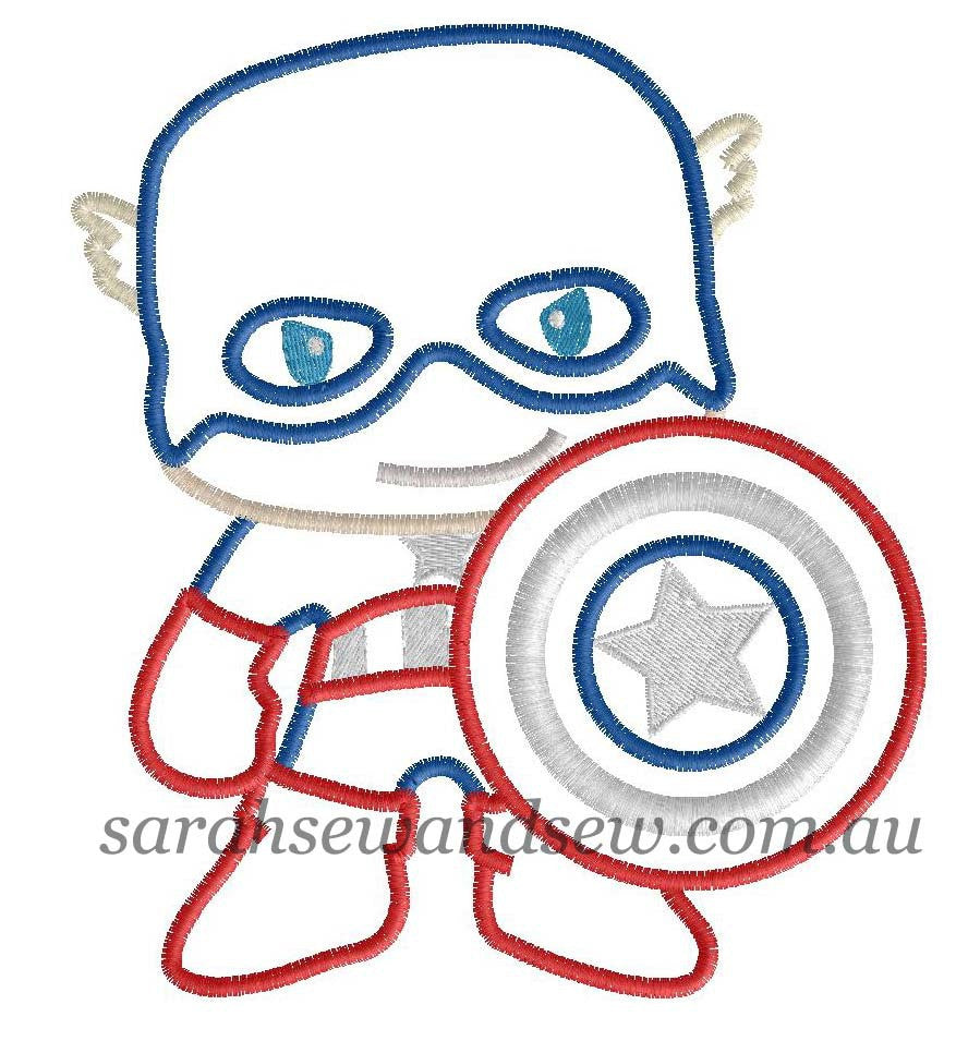 Captain America Embroidery Design - Sarah Sew and Sew