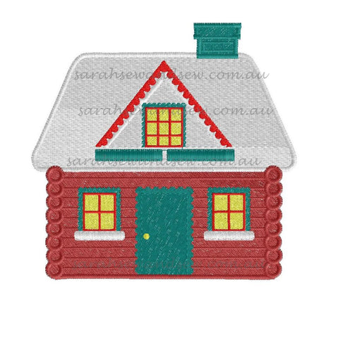 Christmas House Embroidery Design - Sarah Sew and Sew