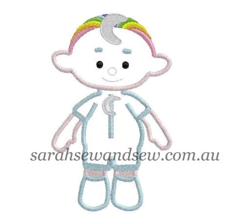 Cloud Babies Blue Embroidery Design - Sarah Sew and Sew