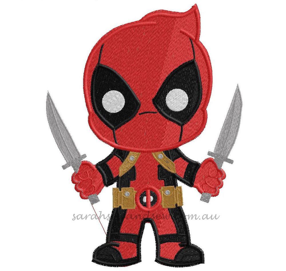 Deadpool Embroidery Design - Sarah Sew and Sew