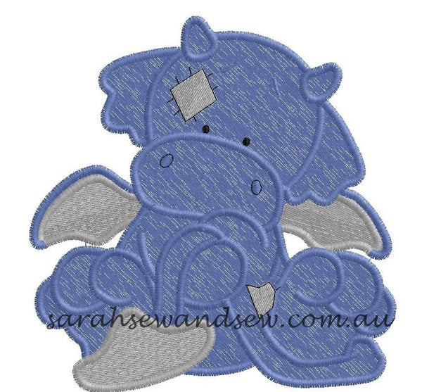 Flame Blue Nosed Friend Embroidery Design - Sarah Sew and Sew